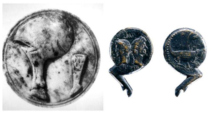 Monedas de época romana con imágenes de jamón y forma de pernil
